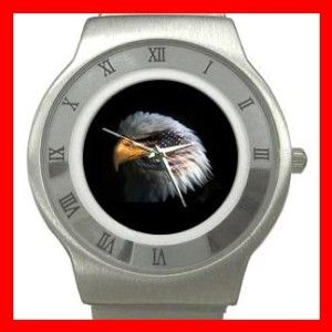eagle eye american flag stainless steel watch unisex