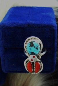 effie calavaza zuni ladies turquoise coral ring
