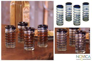 Cobalt Spiral Set of 4 Hand Blown Glass Shot Glasses Novica Mexico
