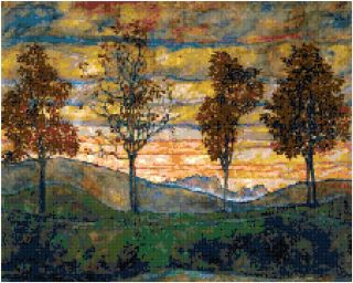 Egon Schiele Four Trees Painting Art Counted Cross Stitch Pattern
