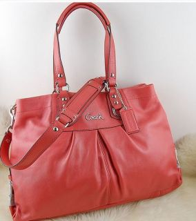 Coach F15513 Ashley Large Leather Satchel Purse Bag Geranium $ 398 Tax
