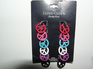 Hippie PEACE SIGN Earrings 6 Pair Pierced Hypo Allergenic Faded Glory