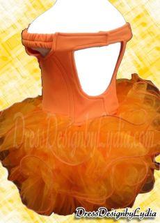 075Z Orange Shell National Pageant Party /Wedding Flower Girls Dress
