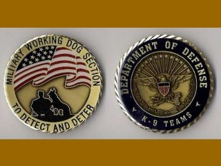 K9 Handler Army Navy Marine Air Force Challenge Coin DS