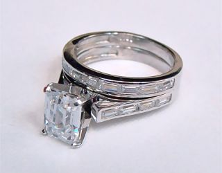 75ct Emerald Cut Wedding Ring Set 14k Solid Gold