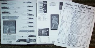 Lee E Olsen Knife Co Catalog 1960s Howard City MI Custom Knives Hunt