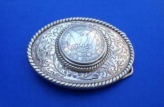 Western Cowboy Rodeo Silver Plated Eagle Dollar Buckle