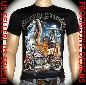 ROCK EAGLE Men T Shirt Size M Tattoo Biker Rider Strong Survive