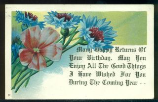1910 Many Happy Returns of Your Birthday Flowers Motto Vintage