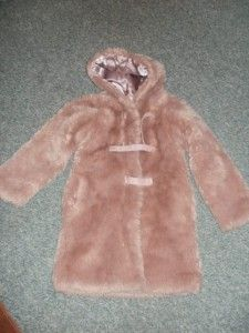 Stunning Girls Faux Fur  Tigerlily Coat Powder Pink Hooded