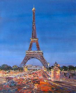 Art Oil Painting Modern Decor Hand Painted Paris Eiffel Tower