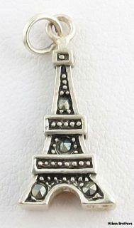 Eiffel Tower Charm   Sterling Silver 925 Marcasites 3D Paris Souvenir