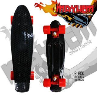 Mayhem Complete Cruiser Skateboard Black Red Wheels