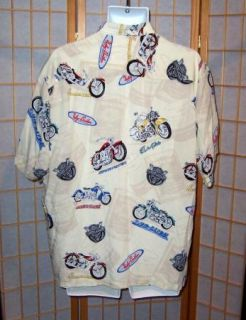 Harley Davidson Mens XL Cream Hawaiian Motorcycle Tori Richard Camp