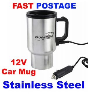 Heated Warm Stainless Steel Travel Electric Mug Kettle Jug BN