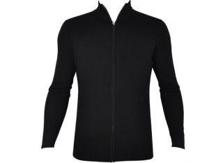 Dunning Slim Fit Ribbed Full Zip Black Wool Sweater   Black M