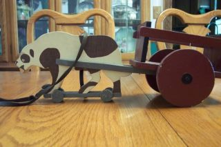 Wooden Primitive Pull Toy St Bernard Dog and Cart 16 Inches