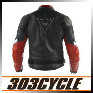 Alien Pelle Leather Motorcycle Riding Jacket Black Red 1533627