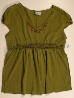 Duo Maternity Olive Top Shirt Blouse Sz XL Rtl $30