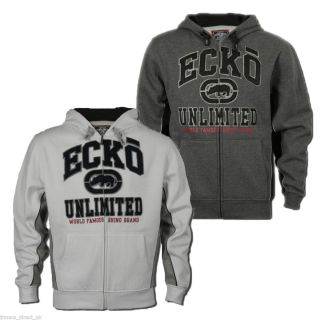 Ecko Unltd Mens Full Zip Brushed Fleece Hoody Hooded Sweatshirt Jumper