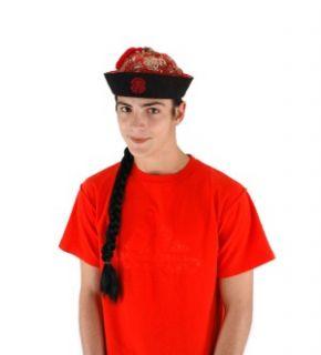 Mandarin Chinese Braid Wig Costume Hat Adult Standard