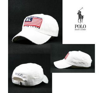 RL6 White Vintage Polo Jeans Company Flag Cap Tennis Golf Casual