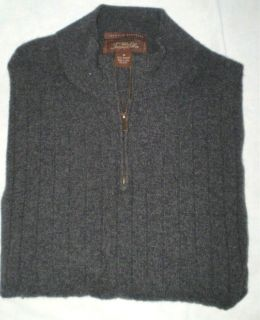 Mens TASSO ELBA 100% Cashmere Ribbed 1/4 Zip Charcoal Gray Sweater M