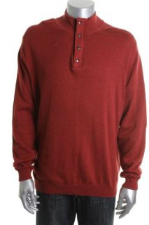 Tasso Elba New Red Ribbed Mock Neck 1 4 Zip Snap Pullover Sweater M