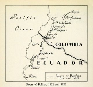 Bolivar Map War Independence Spain Ecuador Colombia Venezuela