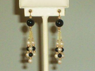 14k Solid Gold White Pearl Black Onyx Elegant Earrings