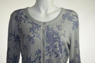 Sonoma Womens Floral Print Cardigan Size Medium Gray Purple Scoop