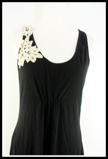 Element Size L Black Crochet Trim Knit Stretch Sleeveless Womens