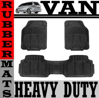 3pc Set All Weather Heavy Duty Rubber Van Black Floor Mat Front & Rear