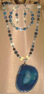 Handcrafted Blue Stripe Druzy Geode Agate Crystal Glass Jade Pendant