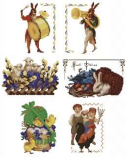 Vintage Easter Machine Embroidery Designs Set in Cross Stitch 5x7