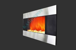 GV Stainless Panel Electric Fireplace Heater 1500W Heater Flame Effect