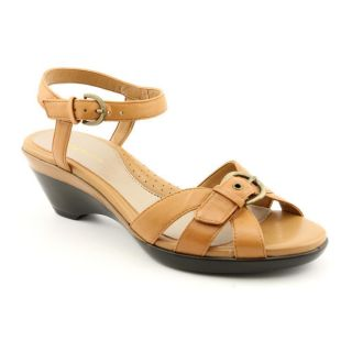 Easy Spirit Sabine Womens Size 10 Tan Open Toe Leather Wedge Sandals