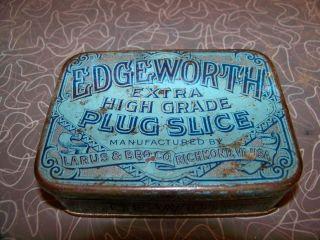Vintage Edgeworth Extra High Grade Plug Slice Tobacco Tin