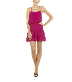 Auth New $365 Haute Hippie Ruffle Mini Silk Tank Dress in Magenta XS S