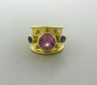 Elizabeth Locke 18K Yellow Gold Pink Spinel Sapphire Ring