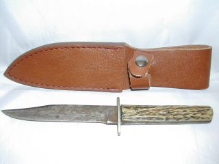 Alfred Williams Ebro Sheffield England Stag Handle Fixed Blade Knife