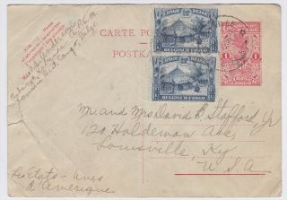 Belgian Congo Elizabethville to US 1938 Uprated Postal Card, creasing