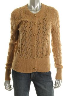 Ellen Tracy New Tan Ribbed Trim Long Sleeve Button Down Cardigan