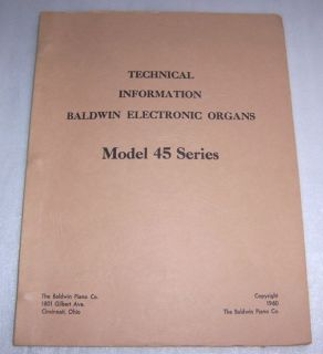 Baldwin Model 45 Series Electronic Organ Service Manual