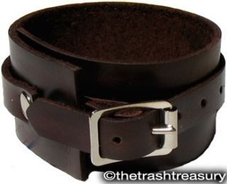 Wide MAHOGANY LEATHER Bracelet WRISTBAND cuff elliott smith