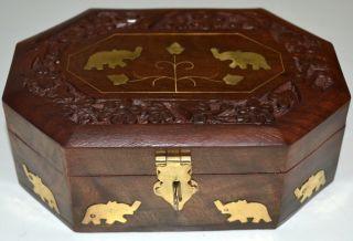 Carved Wood Wooden Jewelry Box w Elephant Brass Inlay India Art