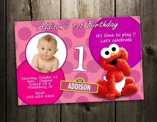 Elmo Sesame Street Party Invitation Birthday Photo Baby Custom Invite