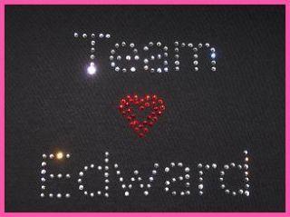Team Edward Rhinestone T Shirt Twilight New Moon Heart