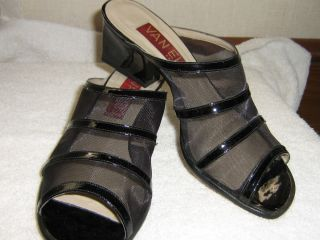 Van Eli Mesh Black Patent Sandals Heels Excellent Used Condition Size