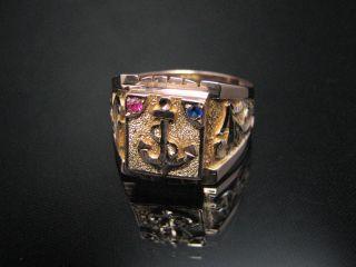 Dekorativer 14kt Gold Herren Ring Anker Und Edelstein